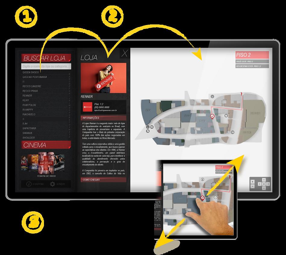 Interface mapa Trackmall - Diretorio e Totem para Shopping Center / Mall