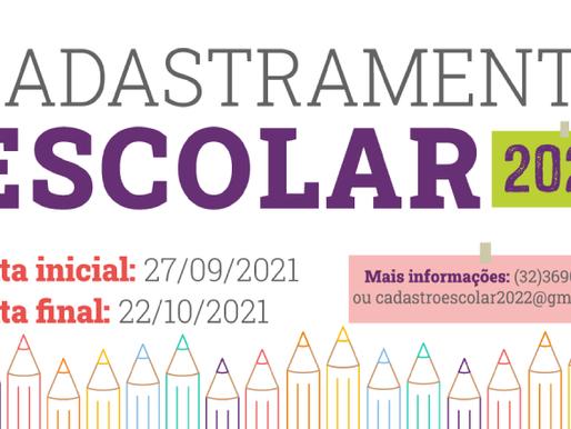 Cadastramento Escolar na rede municipal de ensino para 2022 começa nesta segunda-feira (27)