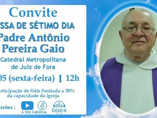 Missa de sétimo dia de Padre Gaio será nesta sexta-feira (21)