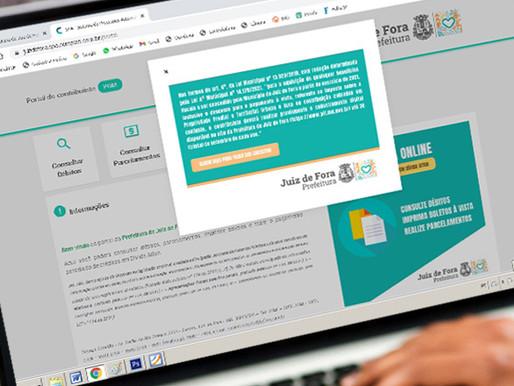 Prorrogado prazo de cadastramento de contribuintes no site da Prefeitura de Juiz de Fora