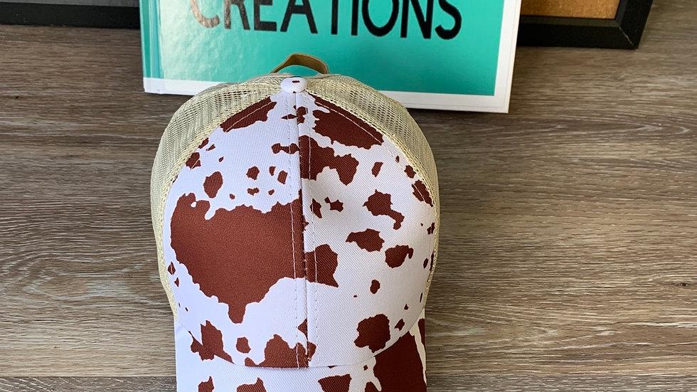 Cow print ponytail hat