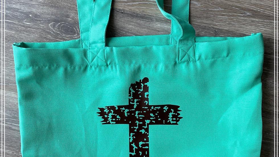 Shoulder bag with distressed cross