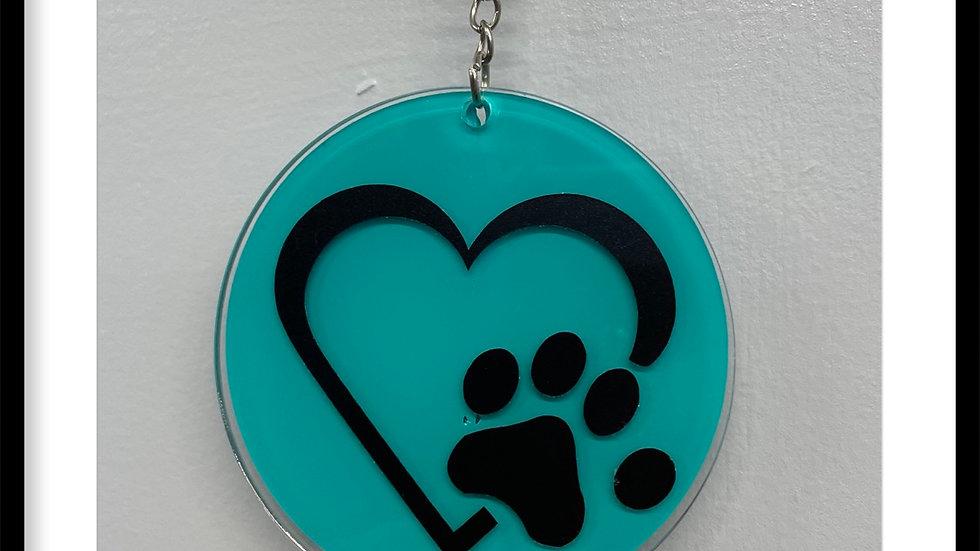 Heart with animal paw print keychain