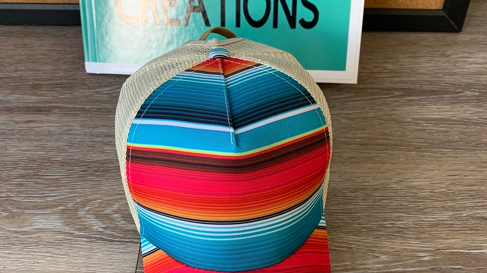 Aztec striped ponytail hat