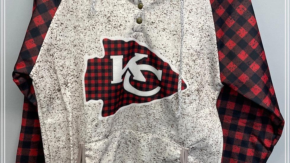 KC plaid sweatshirt with arrow