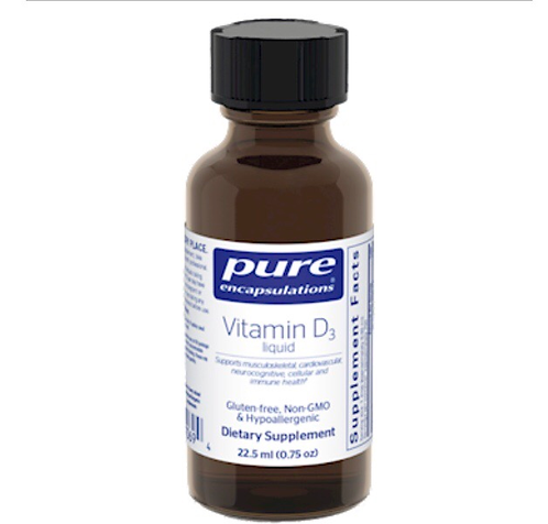 Vitamin D 3 Liquid by Pure Encapsulations  (22.5 ml) 1000 IU per drop!