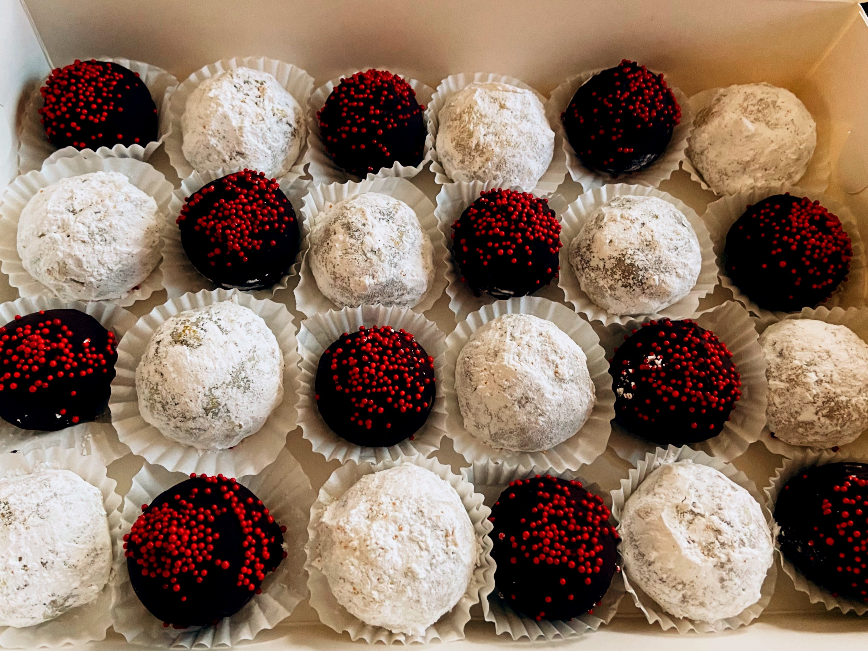 Reds and Whites (Peanut Butter Truffles and Hot Cocoa Snowballs)