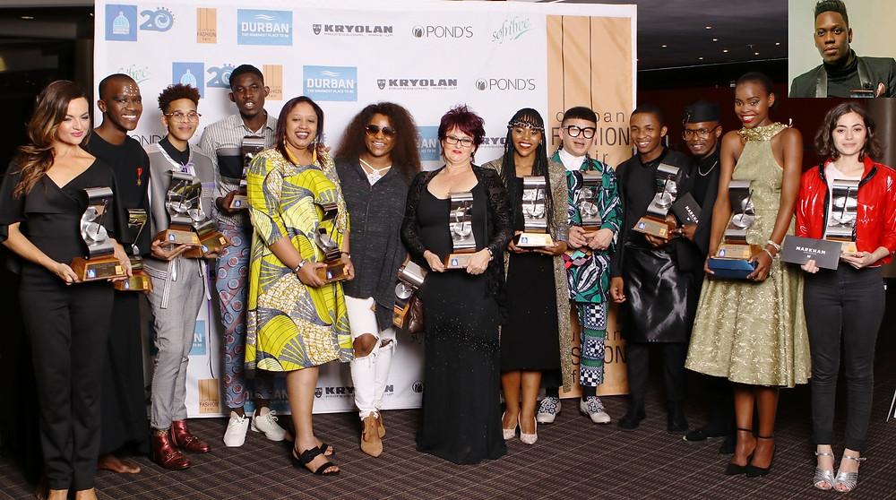 #DFF2018 winners: Aldytha Da Silva (Business Award: Kryolan); Ntando Shandu (New Face); Martin John Steenkamp (Fashion Innovator & Next Generation Emerging Designer Awards); Samuel Quame Owusu (Best Male designer – International Designer Category); Nassim Samma (Best Female designer – International Designer category); Zama Mathe (DFF Durban Designer of the Year 2018); Brenda Quin (Best Ladieswear Collection); Zamabhele Ntshangase (Rising Star); Chu Suwannapha (Best Menswear Collection); Khulekani Sithole and Sicelinhlanhla Ngcobo (Rising Star); Nandile Mkhize (New Face); Cari St Quentin (Rising Star); Insert: Muzi Innocent Mhlambo (Collection of the Week).