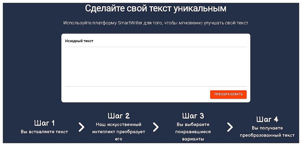 Уникализация текста на SmartWriter с помощью ИИ
