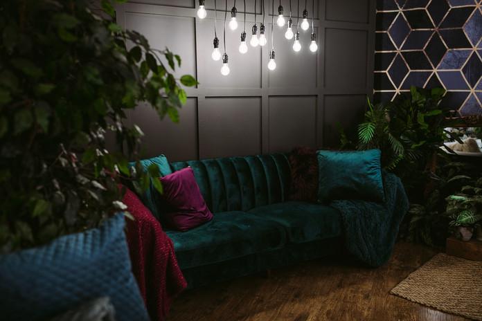 Studio B - Wall and Edison Hanging Lights