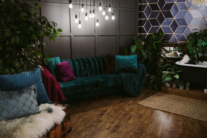 Studio B - Green Velvet Couch