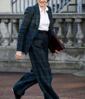 Teresa May goes to work in a Vivienne Westwood suit!