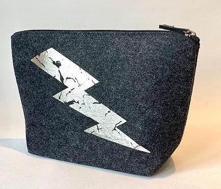 Large Make Up Bag - Charcoal with Lightning Bolt