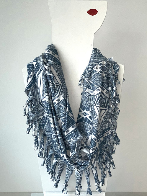The Short Knotted Scarf: Blue Aztec