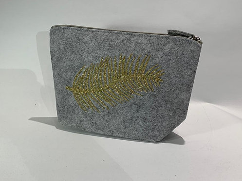 The Make Up Bag - Grey with Feather