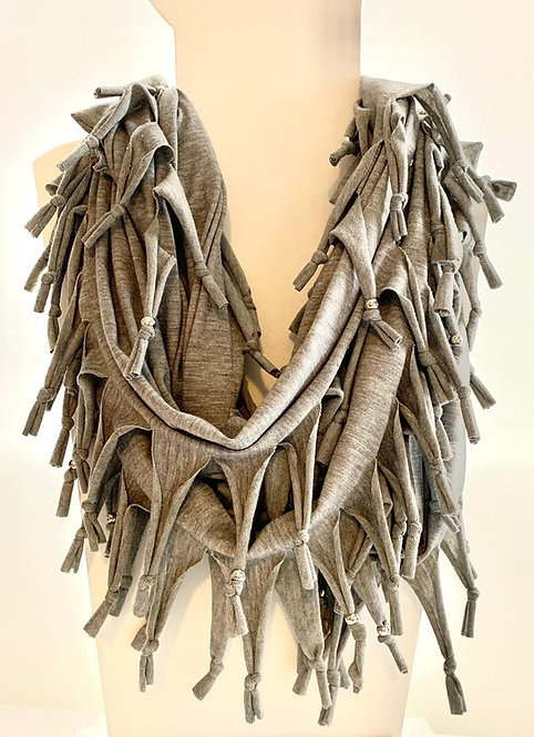The Long Knotted Scarf - Grey Marl
