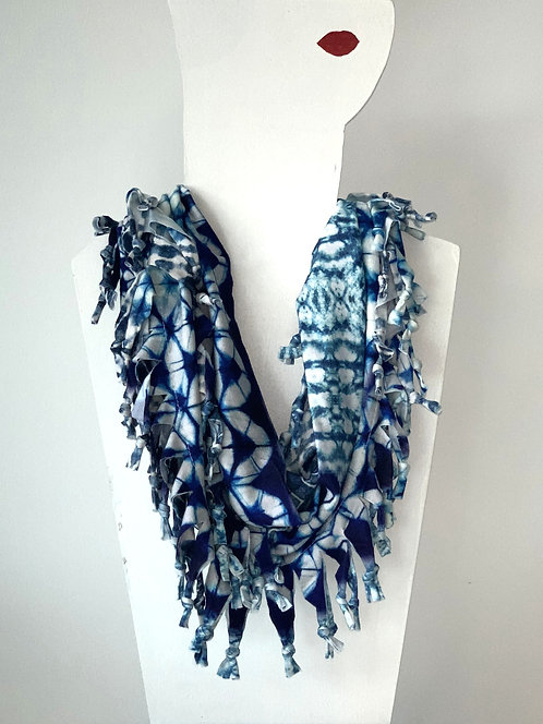 The Short Knotted Scarf - Blue Tie Dye