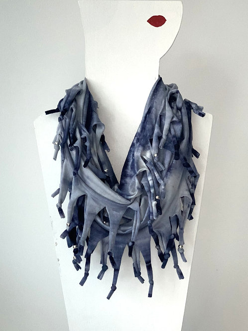 The Long Knotted Scarf - Blue Tie Dye