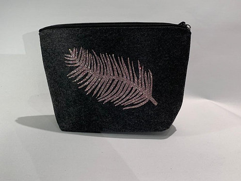 The Make Up Bag - Charcoal with Feather
