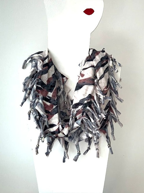 The Long Knotted Scarf - Brown Stripe
