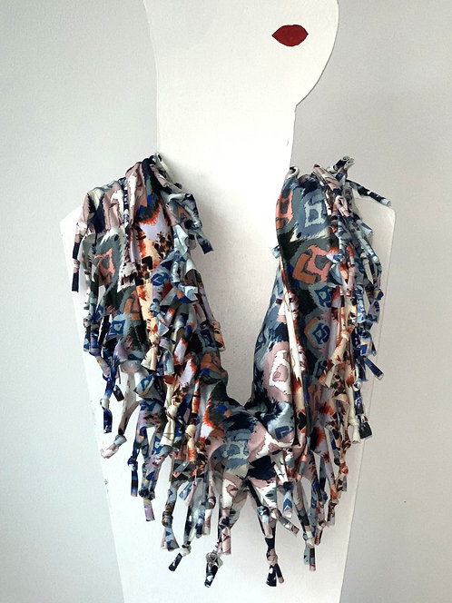 The Short Knotted Scarf - Boho Blue