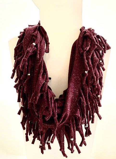The Long Knotted Scarf - Maroon Fleck