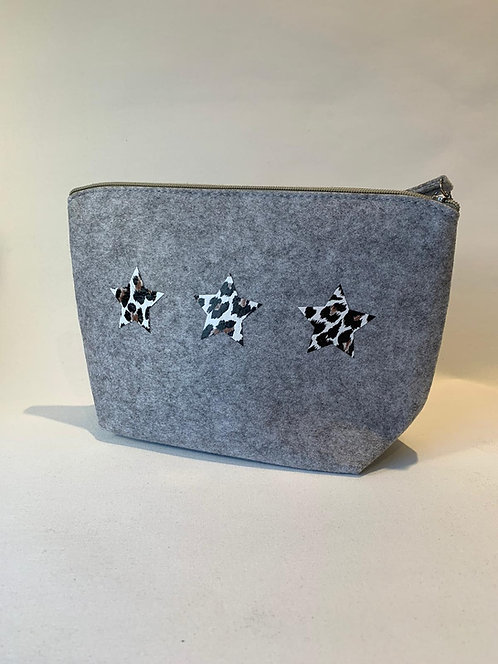 The Make Up Bag - Grey with Leopard Star