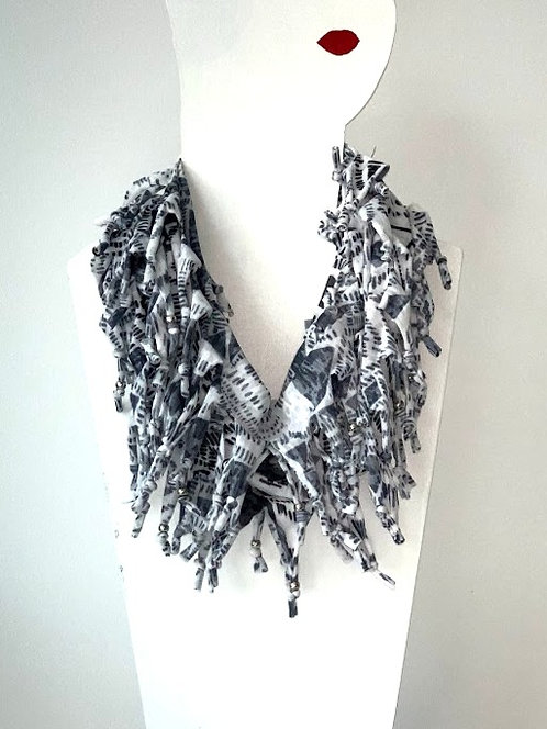 The Long Knotted Scarf - Black Aztec