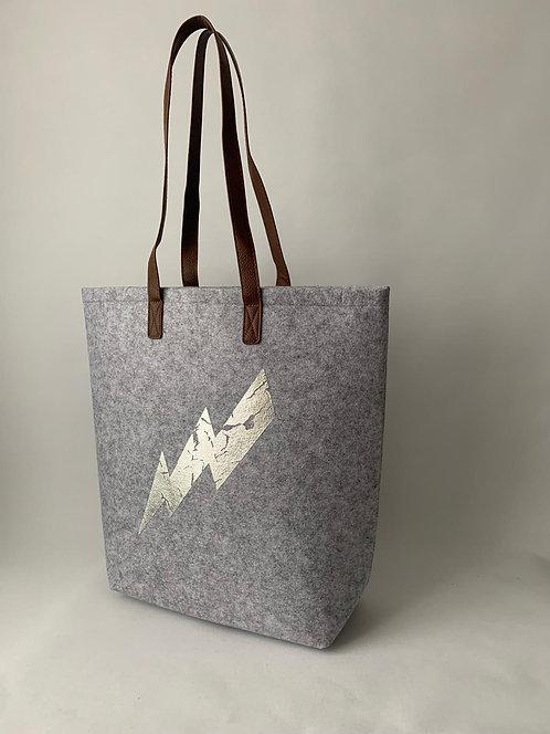 Felt Tote Shopper Lightning Bolt