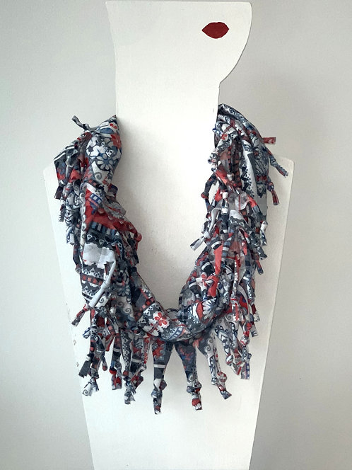 The Short Knotted Scarf - Denim Patchwork