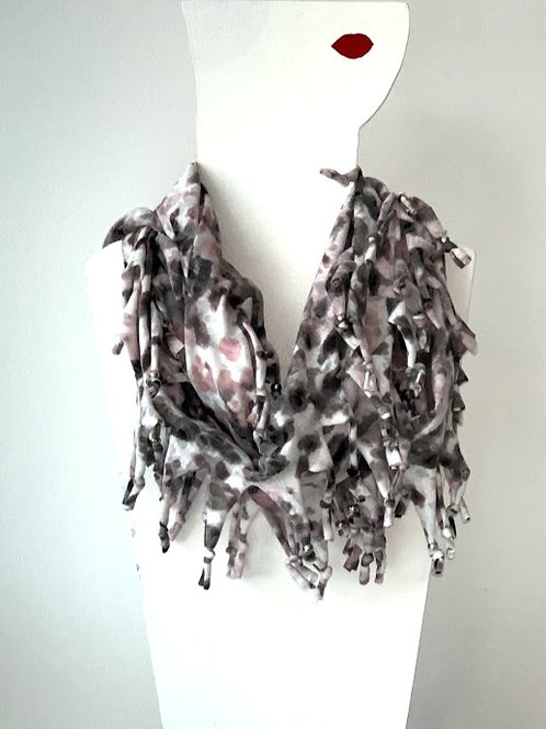 The Long Knotted Scarf - Pink Animal