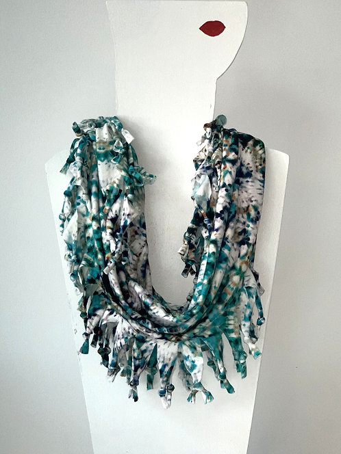 The Short Knotted Scarf - Green Tie Dye