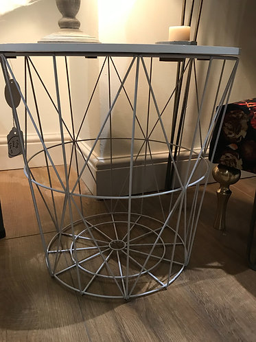 White Wire Basket Table