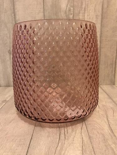Diamond Ridged Pink Glass - Large