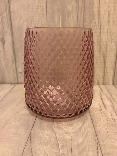 Diamond Ridged Pink Glass