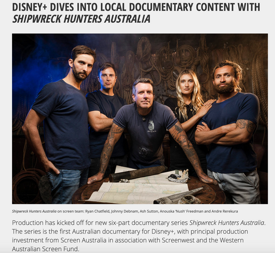 Terra Australis Productions & Vam media are commissioned to produce Australian first Disney+ documentary series Shipwreck Hunters Australia
