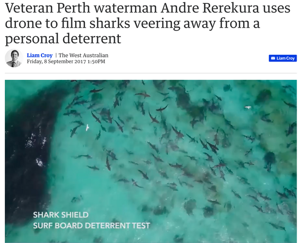 Terra Australis test leading shark deterrent with hundreds of sharks