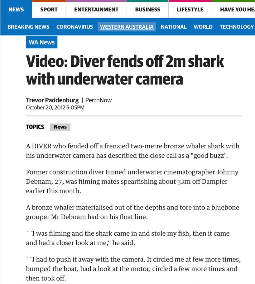 Terra Australis makes headlines for footage of fending off curious 2 meter shark