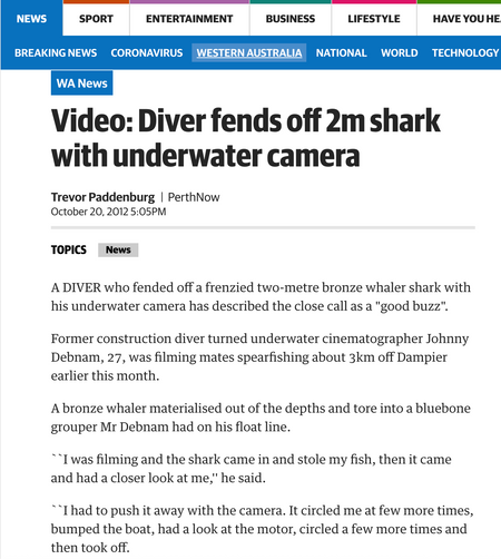 Terra Australis makes headlines for footage of fending off curious 2 meter shark