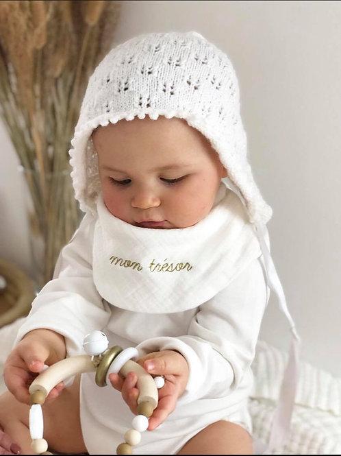 Bavoir bandana en gaze de coton Blanc - Brodé à personnaliser