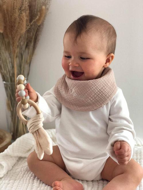 Bavoir bandana en gaze de coton Brun- Brodé à personnaliser