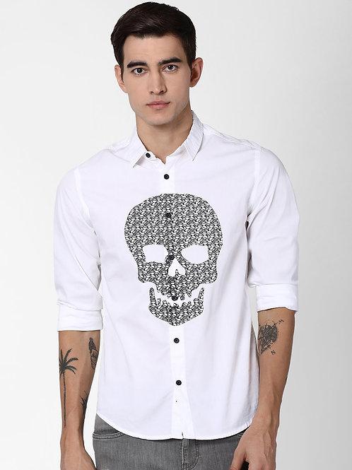 Blue Saint Men White Slim Fit Printed Casual Shirt