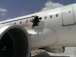 Terrorist bomb attack on airliner