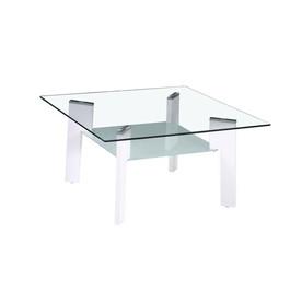 Table basse plateau verre trempé pieds blancs