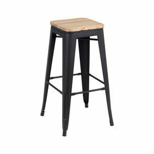 Tabouret rétro noir mat assise bois   H : 76 cm