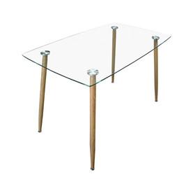 Table à manger en verre trempé transparent