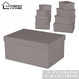 Lot de boites de rangement taupe