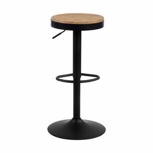 Tabouret rond Rétro noir mat assise bois    Hauteur réglable
