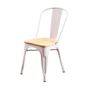 Chaise rétro blanche avec assise en bois