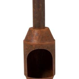 Four à bois métal rouillé sur pieds